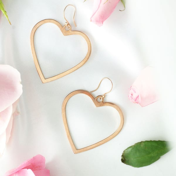 Heart Shaped Earrings with Rose Gold Finish