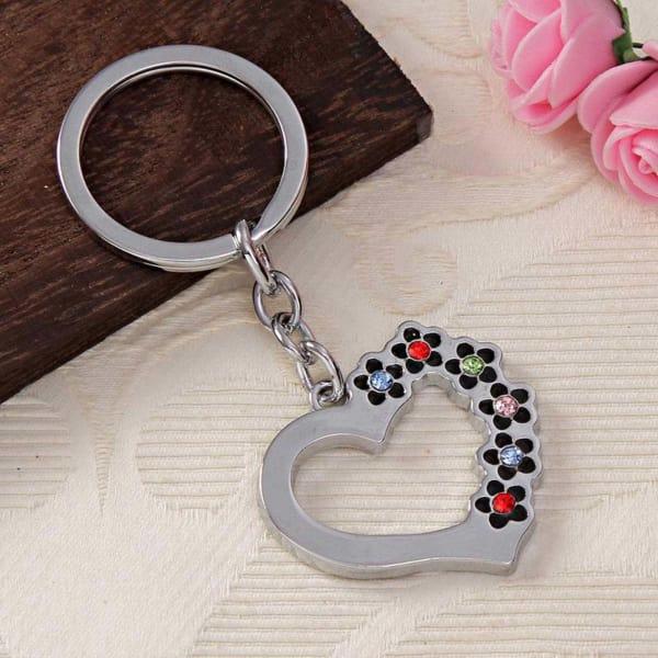Heart Shaped Embellished Key Chain