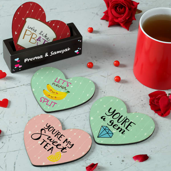 Heart Shaped Love Coasters with Personalized Holder
