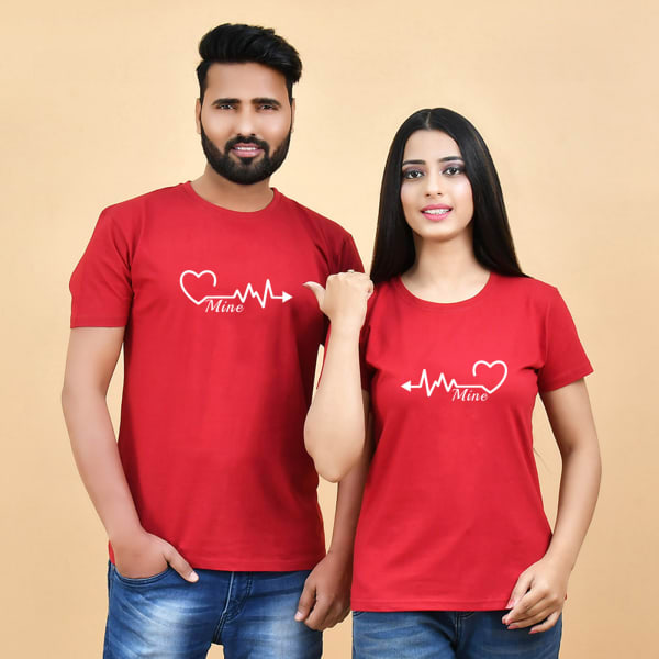 Heartbeats Mine Red T-Shirts for Couples