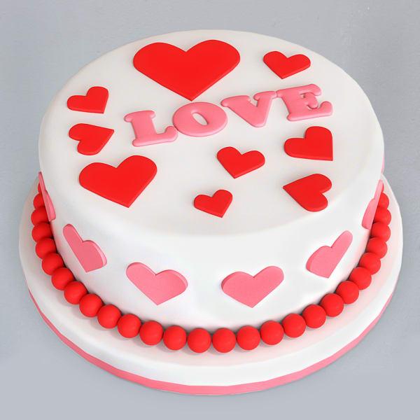Hearts Fondant Cake (1 Kg)