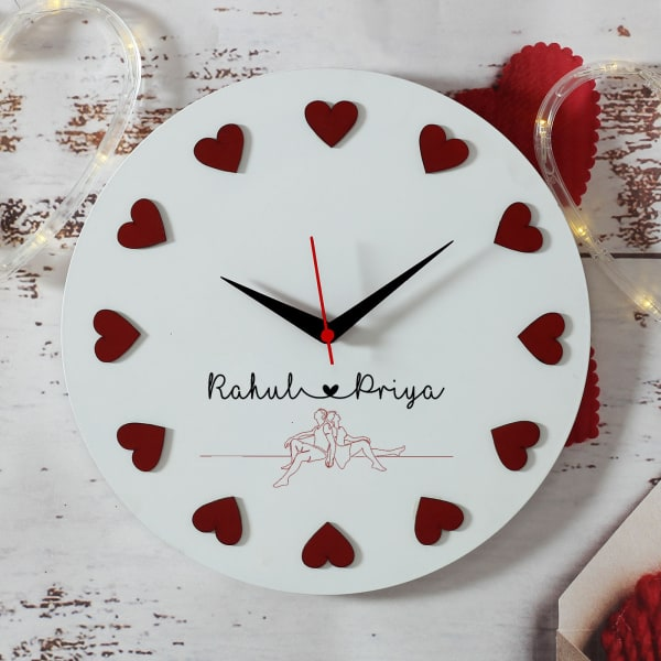 Hearts Personalized Wooden Clock