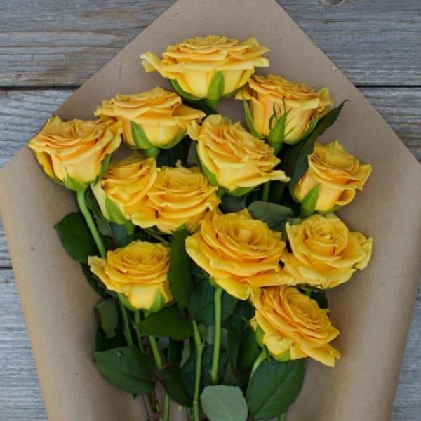 Hella Yella - 12 Yellow Roses Bouquet