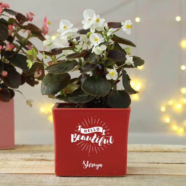 Hello Beautiful Personalized Ceramic Planter