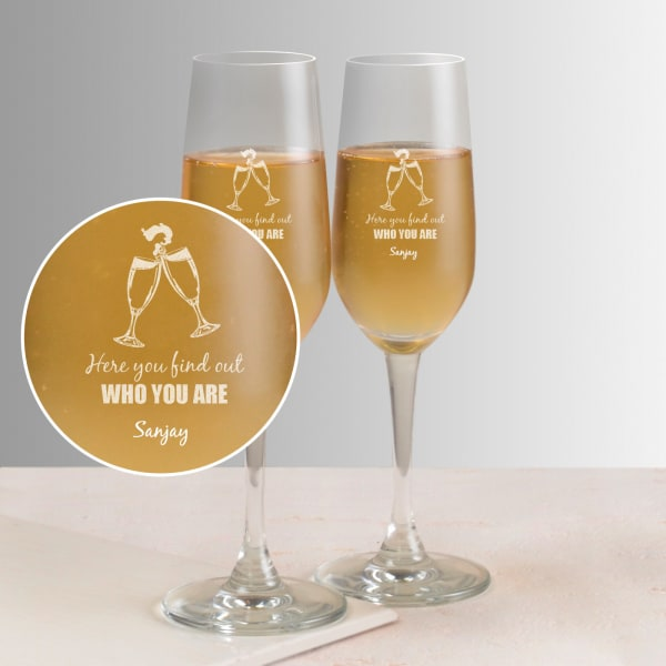 Here you find out Personalized set of two champagne glasses
