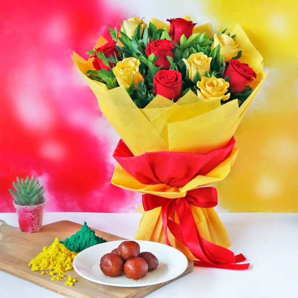 Holi Gulaal with Bouquet and Gulab Jamun (1 Kg)