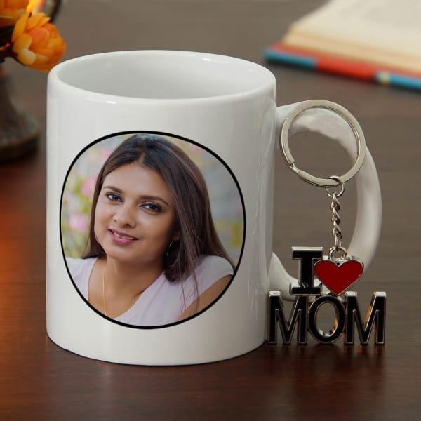 I Love Mom Keychain with Personalized Mug Hamper