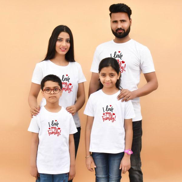 I Love My Family White T-Shirts (Set of 4)