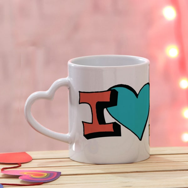 I Love You Colorful Heart Handle Mug