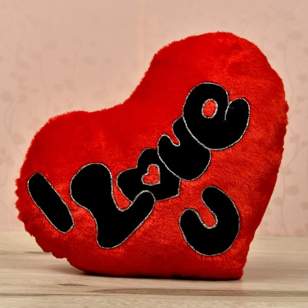 I Love You Heart Shaped Plush Cushion