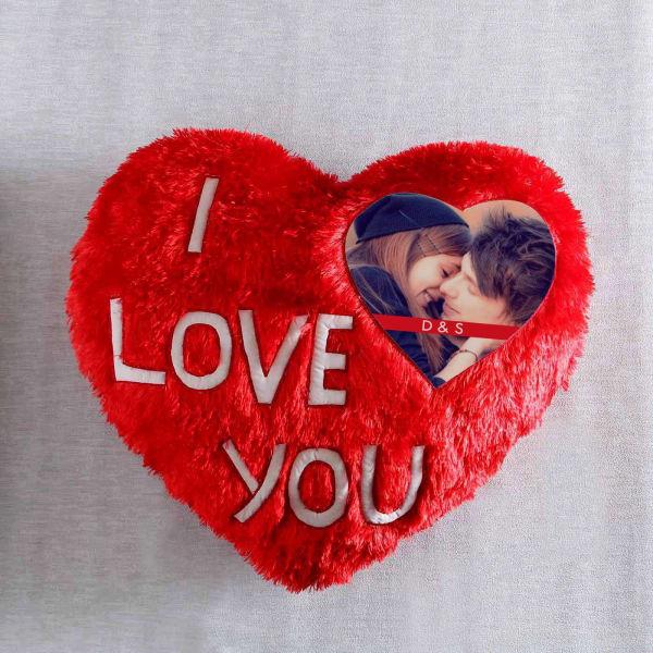 I Love You Personalized Heart Shaped Cushion