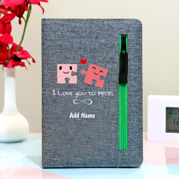 I Love You Personalized Notebook with Zipper Pocket