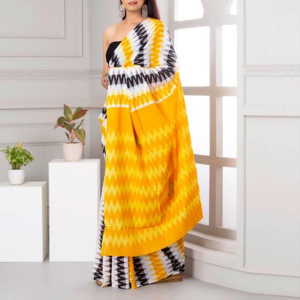 Ikat Print Cotton Saree