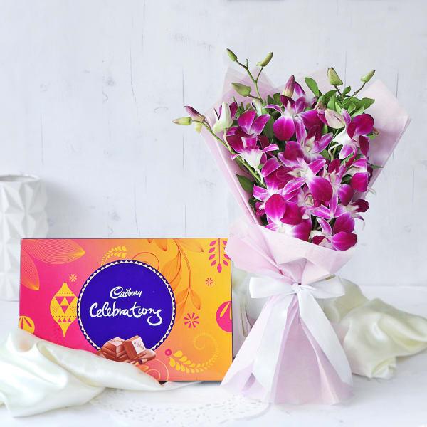 Impressive Orchids Bouquet with Cadbury Celebrations