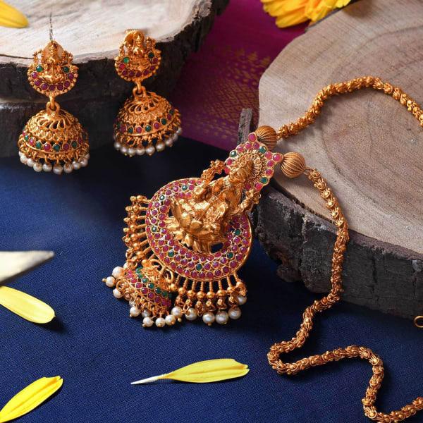 Indian Goddess Ethnic Temple Jewellery Set