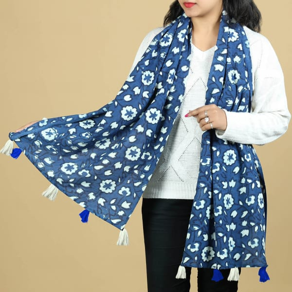 Indigo Cotton Stole with Floral Motifs and Tassels