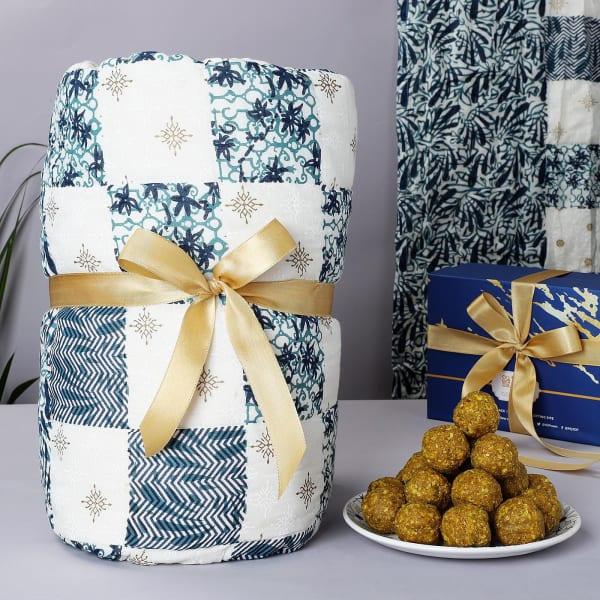 Indigo Patchwork Single Quilt With Sugar Free Ladoos