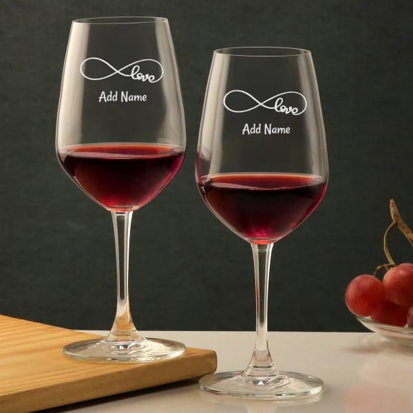 Infinite Love Personalized Bordeaux Glass