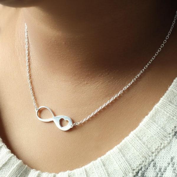 Infinity Heart Silver Polish Pendant Necklace