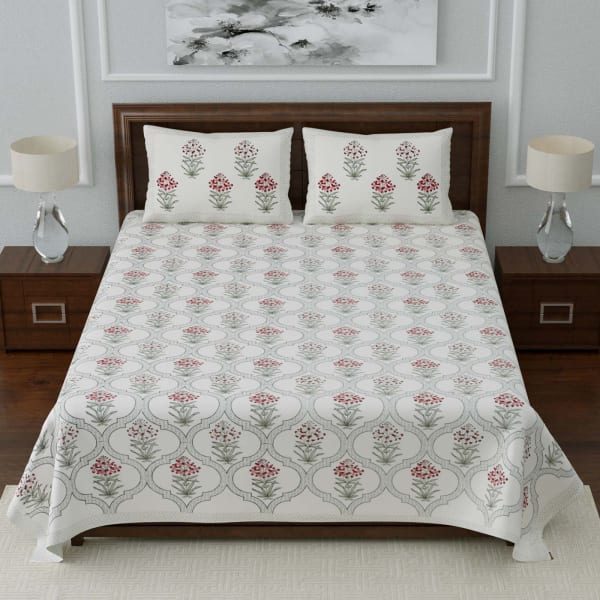 Jaal Printed Designer Double Bedsheet with Pillow Covers