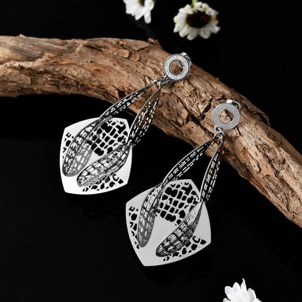Jaali Work Silver Plated Earrings in a Gift Box
