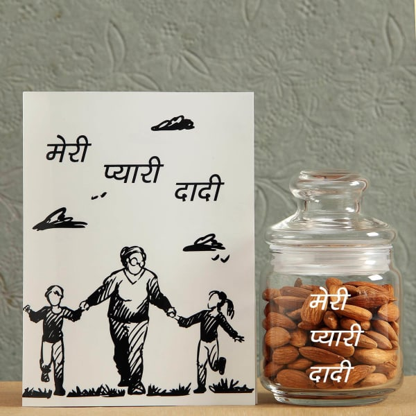 Jar Full of Almonds with Card for Lovely Dadi