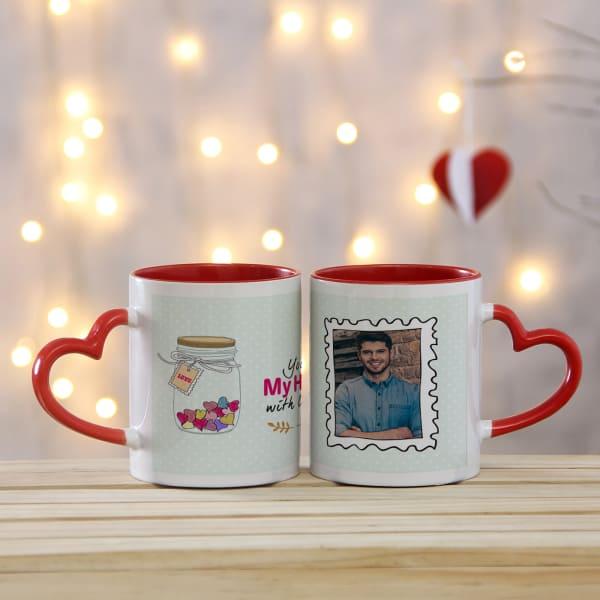 Jar Full of Love Personalized Couple Heart Handle Mug