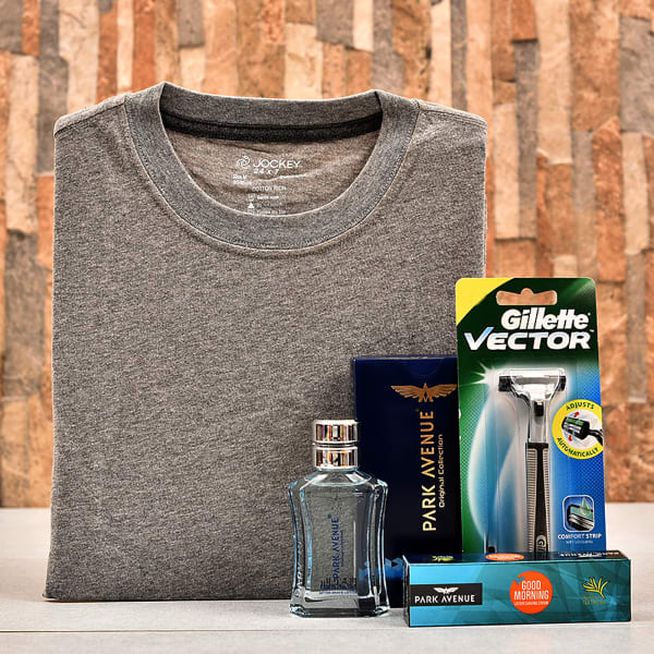 Jockey Grey T Shirt For Men With Shaving Accessories