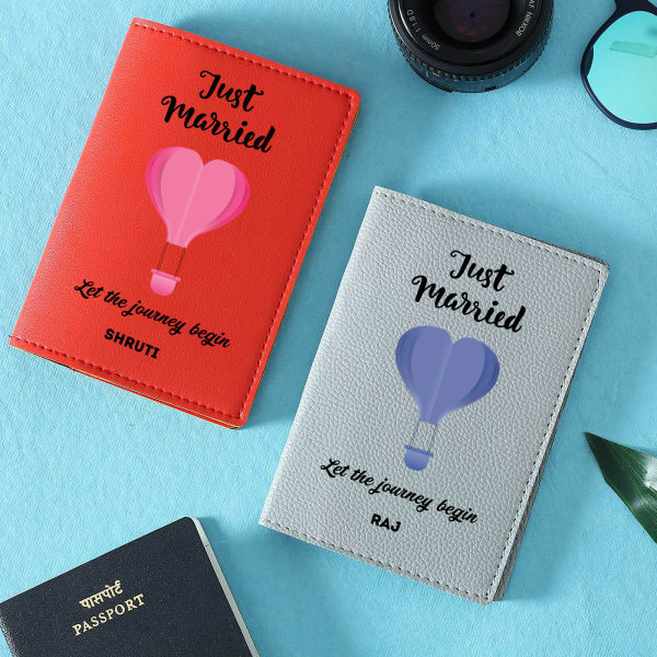 Just Married Personalized Passport Covers - Set of Two