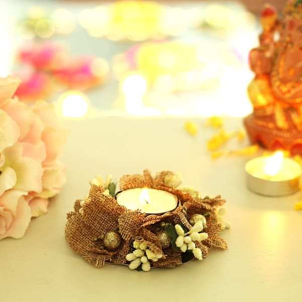 Jute Flower and Golden Beads Designer Tea Light Holder