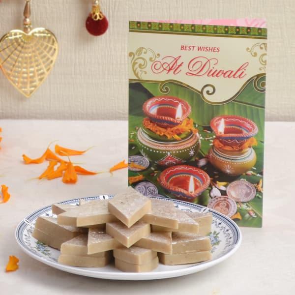 Kaju Katli 500 Gms With Diwali Card