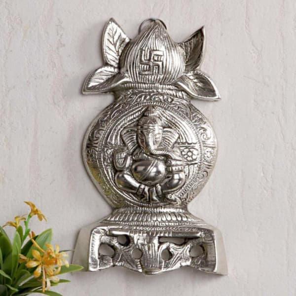 Kalash Shaped Lord Ganesha Metal Wall Hanging