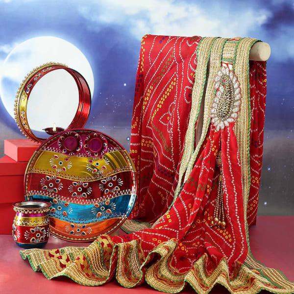 Karwa Chauth Puja Thali Set with Bandhani Dupatta