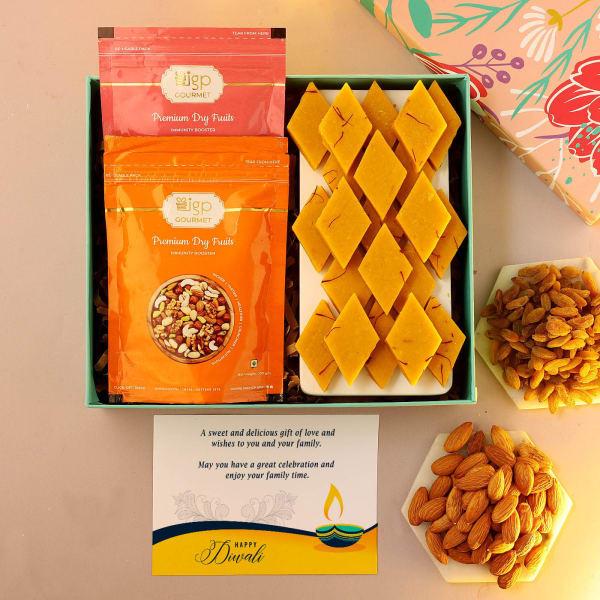Kesar Kaju Katli And Dry Fruits Diwali Gift Box