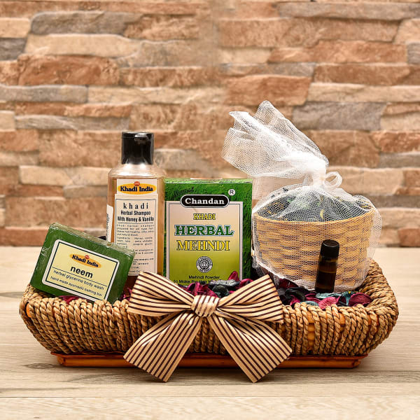 Khadi Hair Care Range With Jasmine Potpourri In Jute Tray Gift Send