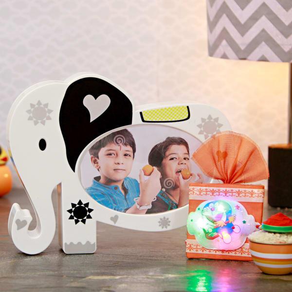 Kids Rakhi With Personalized Photo Frame Cum Money Bank Gift
