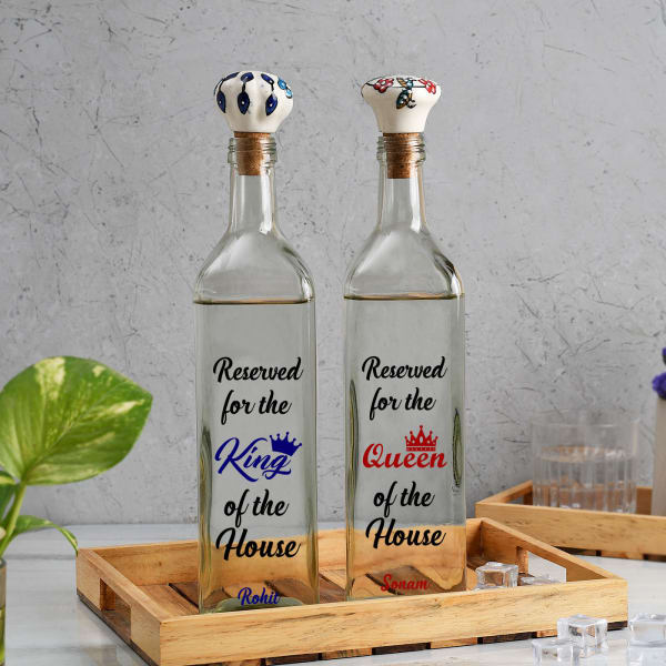 King'n'Queen Personalized Glass Water Bottles 1000ml