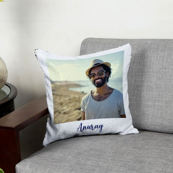 King Personalized Magic Reveal Sequin Cushion