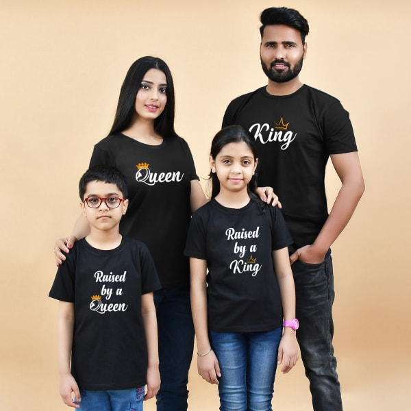 King & Queen Family T-Shirts in Black (Set of 4)
