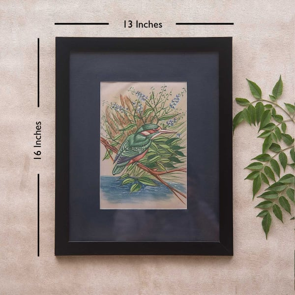 Kingfisher Bird Framed Silk Painting