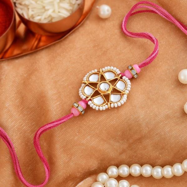 Kundan And Pearl Star Rakhi