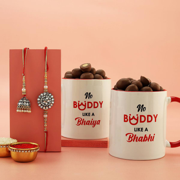 Kundan Bhaiya Bhabhi Rakhi Set With Mugs And Chocolates