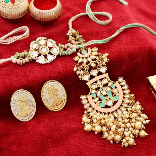 Kundan Bhaiya Bhabhi Rakhi With Silver Coins