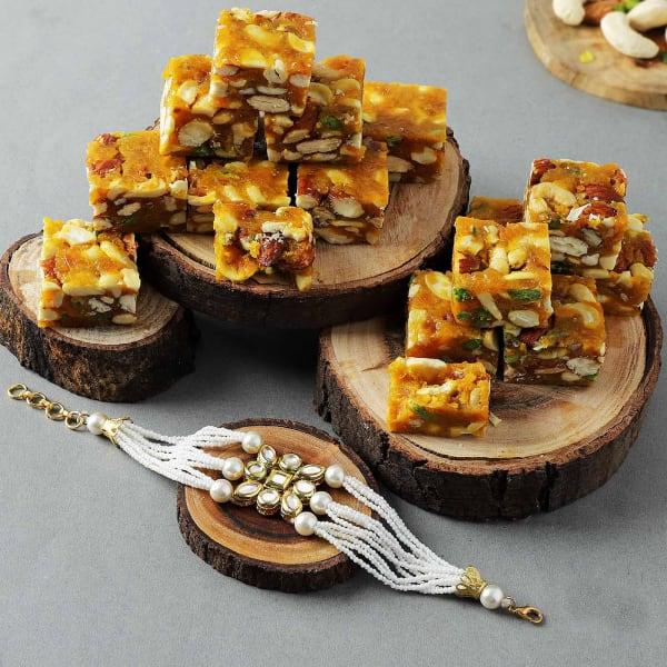 Kundan Pearl Rakhi With Sugar Free Bites