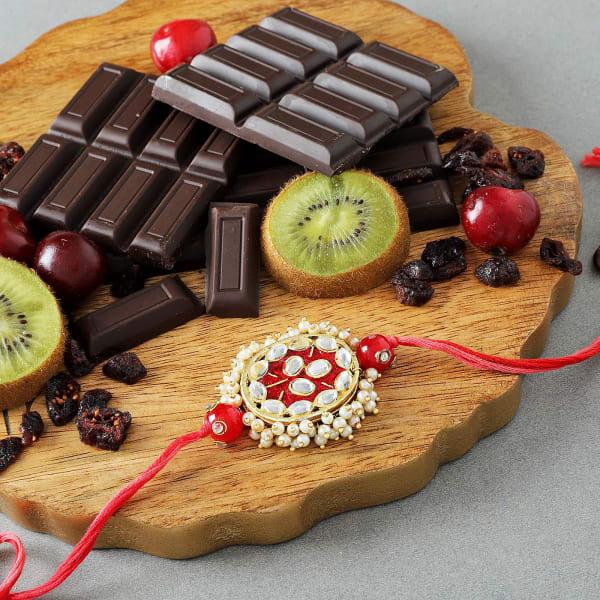 Kundan Rakhi With Premium Chocolates