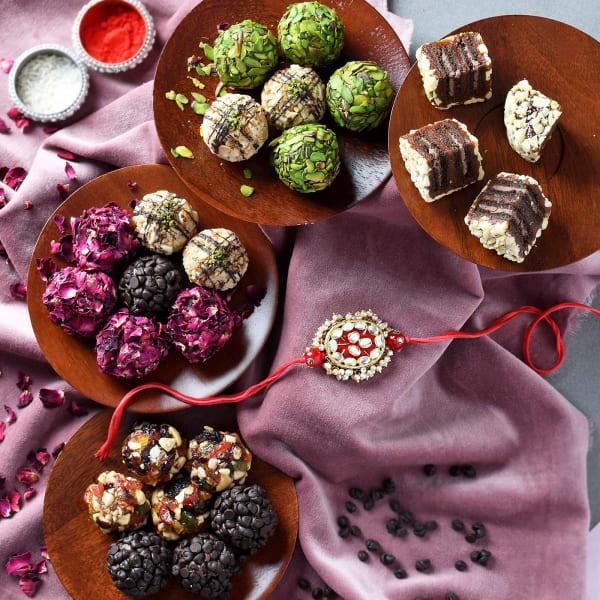 Kundan Rakhi With Premium Dry Fruit Sweets