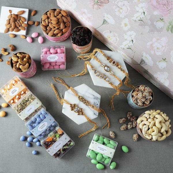 Kundan Rakhis With Premium Dragees Gift Box