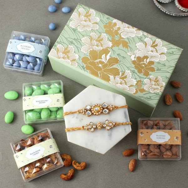 Kundan Rakhis With Premium Goodies Gift Box