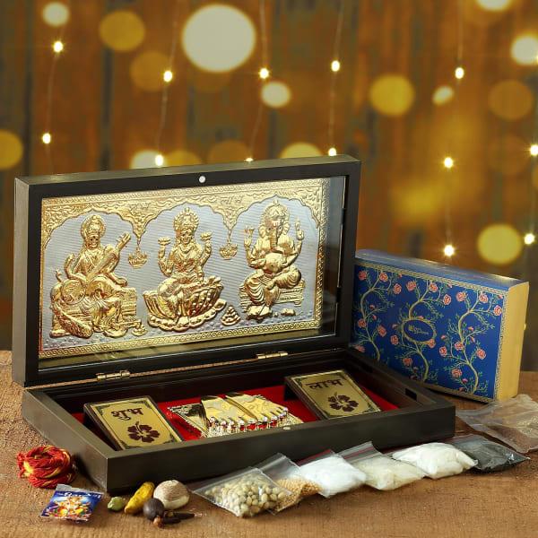 Laxmi Ganesha Charan Paduka Set with Puja Kit