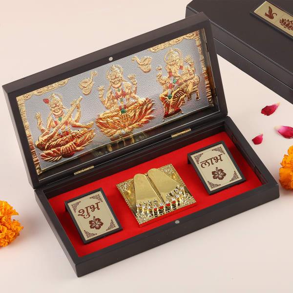 Laxmi, Ganesha, Saraswati Gold & Silver Plated Charan Paduka in Box